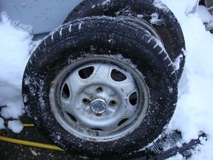 2-155 80 r13 directional snow tires on 4x100mm., like new tires