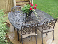 Cast iron table with 6 chairs