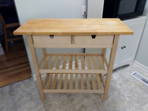 IKEA butcher block table and pub chair