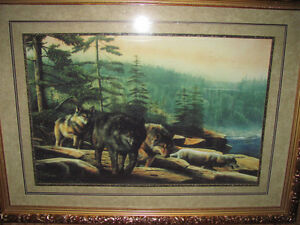 Large pair of wolf pictures
