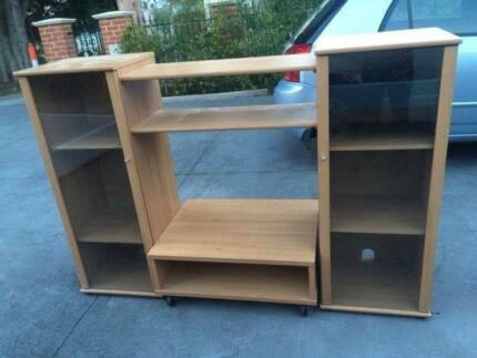 Nice wooden / glass TV stand, can delivery at extra fee.   In ver