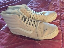 "Ladies ""Vans"" high tops Cream and White Trainers worn Twice only £60"