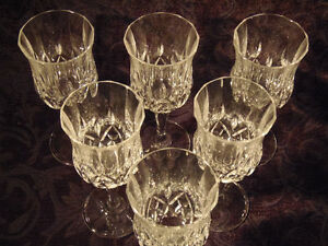 6  Bohemian Cut Crystal Wine Glasses:Classic Pretty Stemsware!