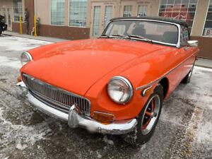 1974 MGB Convertible. Orange on Black