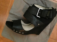 $400 MEA SHADOW Genuine Leather Black Wedge Heels Sz9