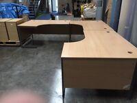 3 Beech office desks and pedestals
