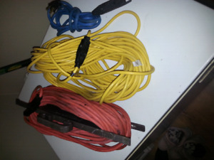 2 - 50 ft extension cords and one small blue one 2 outlets
