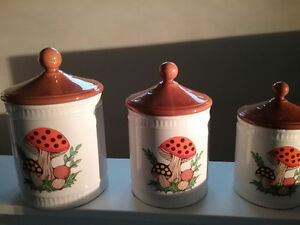 Collectible Vintage Mushroom Pattern Kitchen Canisters