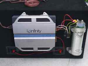 """12"""" infinity subs, amp, box, capacitor, and extras Cambridge Kitchener Area image 2"""
