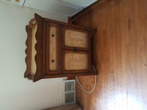 2 door wooden cabinet with removable tray