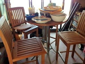 outdoor teak bar stool and table set