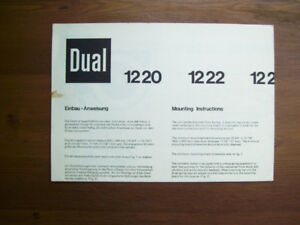 Dual Turntable 1220 Series Mounting Instructions