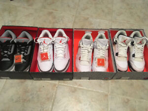 Jordan: Black Cement 3, Hall of Fame 3, Pure $ 4, White Cement 4