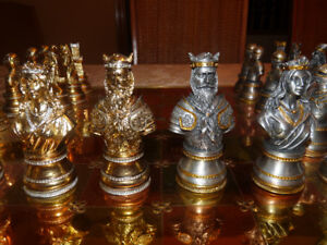 Rare Pewter Chess Set - Medieval Theme - Mint
