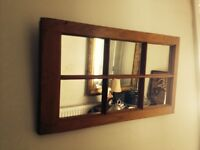 """Antique window frame with mirrors inset. 32"""" x 18"""""""