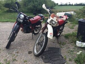 Two dt200 street legal two stroke bikes