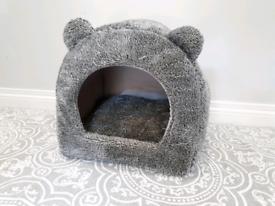Cat Pet Bed Cuddly Grey Cave Hideaway