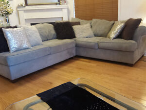 BAUHAUS Microsuede L Shaped Sectional Couch With A Chaise