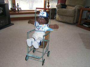 TORONTO BLUE JAYS CABBAGE PATCH DOLL WITH ANTIQUE STROLLER