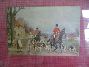 CLASSY OLD VINTAGE WOOD / GLASS HUNT SCENE SERVING TRAY