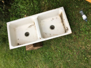 Vintage cast metal kitchen sink
