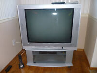 """LARGE 36""""  TV on great portable wheeled stand"""