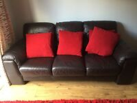 Leather 2 and 3 Seater Sofa Dark Brown/Chocolate DFS