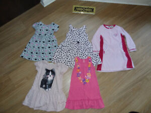 Size 3T girl dresses (6 total) + BNWOT pink floral cardigan