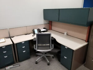 """Used Workstation - Desks with Lots of Storage 72"""" x 72"""""""