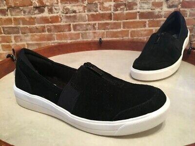 - Ryka Black Stain Resistant Suede Slip On Vivvi Low Top Sneaker Shoes NEW