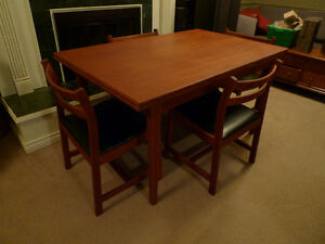 Teak Mid Century Modern Table and 4 Chairs