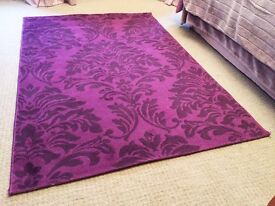 Purple flock pattern rug