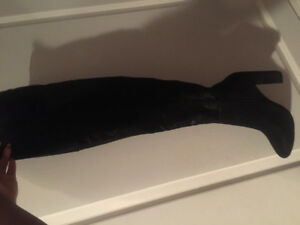 Rhona Black Thigh High Boots Size 7 $50