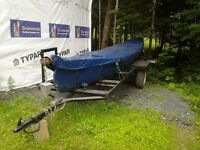 22FT CEDAR STRIP CANOE WITH 9.9 EVINRUDE MOTOR AND BOAT TRAILER