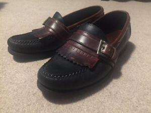 Unisex Beautiful Brown and Black Buckle Fringe Sperry Boat Shoe