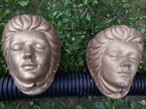 LADY HEAD CAST STONE WALL PLANTERS- TWOOriginal design