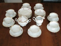 """TEA SET """"ROSEBUD PATTERN""""  MADE BY WALBRZYCH  IN POLAND FOR SALE"""