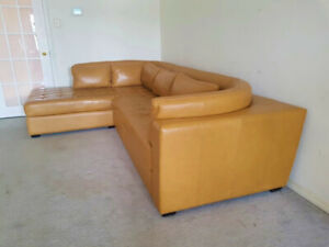 "High end ""Buffalo"" leather sectional couch, valued over $8000"