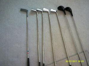 Golf Bag with some Golf Clubs & Tee's and Balls & More