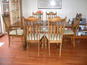 Pine dining table and six chairs