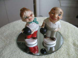 OLD...OLD  HAND-PAINTED JAPANESE BOWLER SALT & PEPPER SHAKERS
