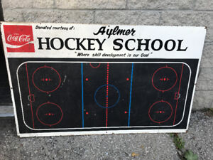 VINTAGE COCA-COLA AYLMER HOCKEY SCHOOL ICE RINK BLACKBOARD