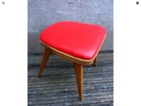 Vintage Mid Century Red Vinyl Padded Stool By Benchair