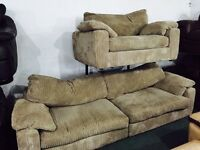 As new cord 4 and 2 seater sofas