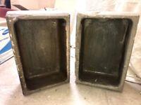 2x antique stone trough sink planter