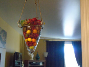 Glass vase, with iron hook
