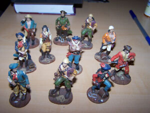 11 PIRATE figurines - 2 1/2 in tall very detailed