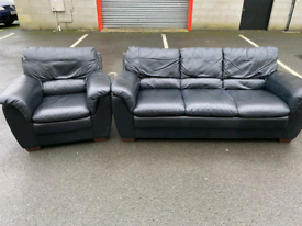 Black Leather 3 Seater Sofa and Chair