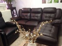 SECTIONAL RECLINER SOFA IN BROWN BONDED LEATHER 645$