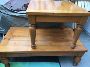 Farmhouse style solid wood coffee and end table